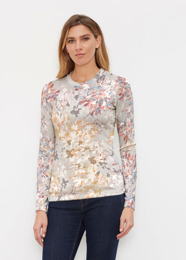 Floral Burst Beige (7674) ~ Butterknit Long Sleeve Crew Top