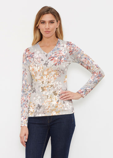 Floral Burst Beige (7674) ~ Butterknit Long Sleeve V-Neck Top