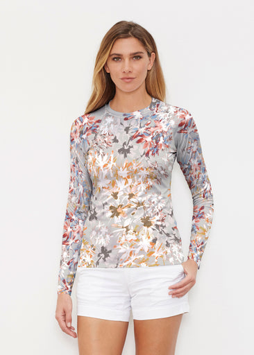 Floral Burst Beige (7674) ~ Long Sleeve Rash Guard