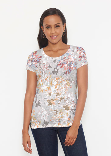 Floral Burst Beige (7674) ~ Signature Short Sleeve Scoop Shirt