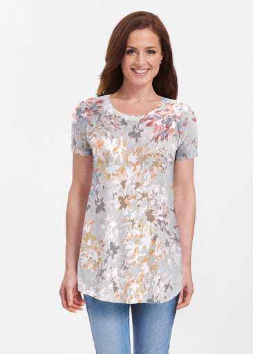 Floral Burst Beige (7674) ~ Butterknit Short Sleeve Tunic
