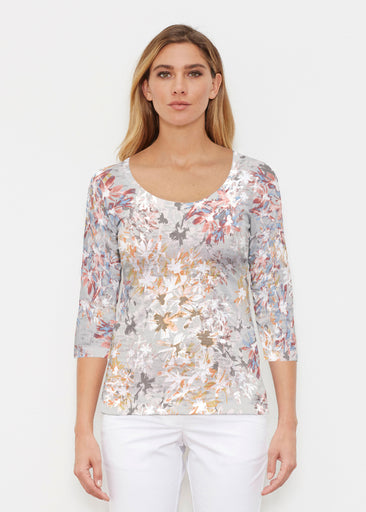 Floral Burst Beige (7674) ~ Signature 3/4 Sleeve Scoop Shirt