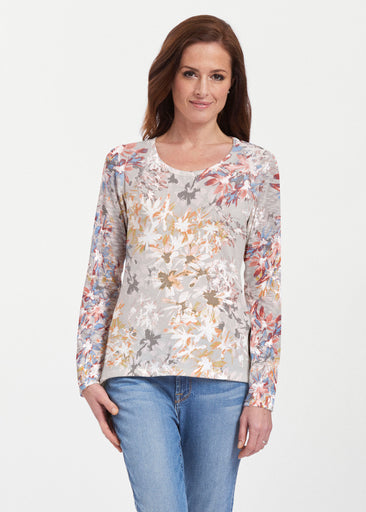 Floral Burst Beige (7674) ~ Texture Mix Long Sleeve