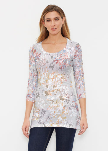 Floral Burst Beige (7674) ~ Buttersoft 3/4 Sleeve Tunic