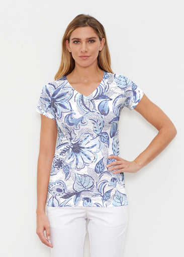 Baltic Watercolor (7677) ~ Signature Cap Sleeve V-Neck Shirt