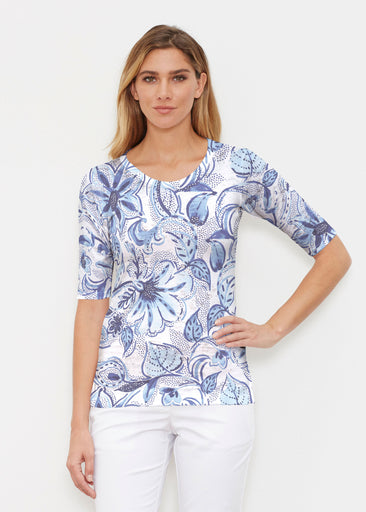 Baltic Watercolor (7677) ~ Elbow Sleeve Crew Shirt