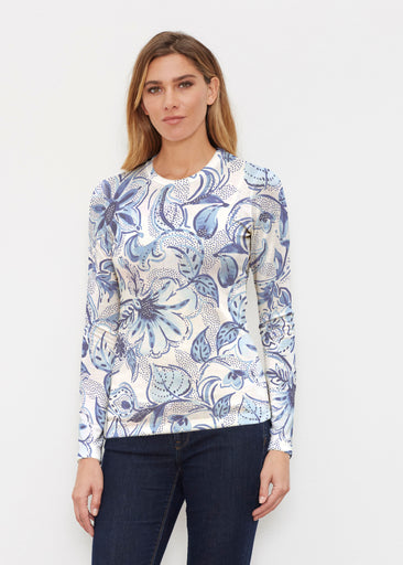Baltic Watercolor (7677) ~ Butterknit Long Sleeve Crew Top