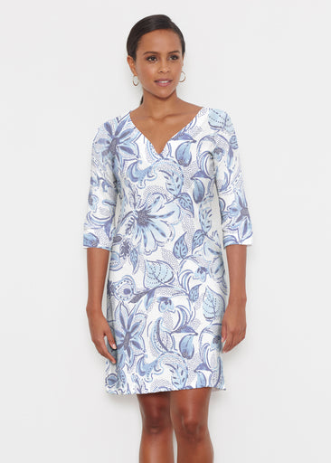 Baltic Watercolor (7677) ~ Classic 3/4 Sleeve Sweet Heart V-Neck Dress