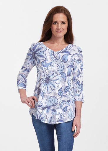 Baltic Watercolor (7677) ~ Signature V-neck Flowy Tunic