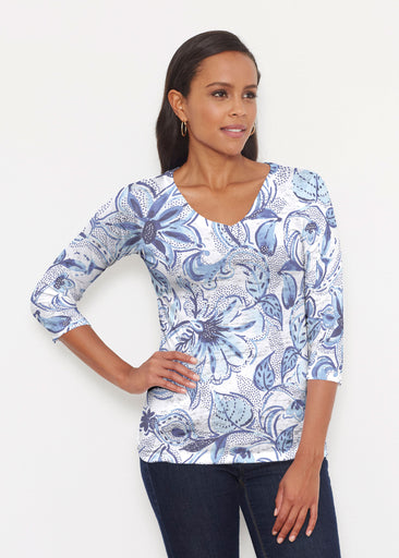 Baltic Watercolor (7677) ~ Signature 3/4 V-Neck Shirt