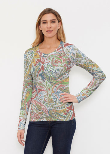 Provincial Paisley (7678) ~ Thermal Long Sleeve Crew Shirt