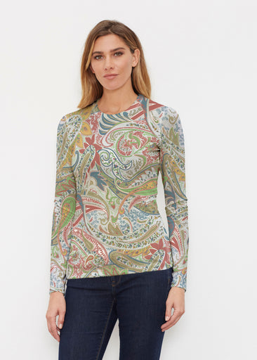 Provincial Paisley (7678) ~ Butterknit Long Sleeve Crew Top