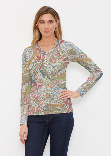 Provincial Paisley (7678) ~ Butterknit Long Sleeve V-Neck Top