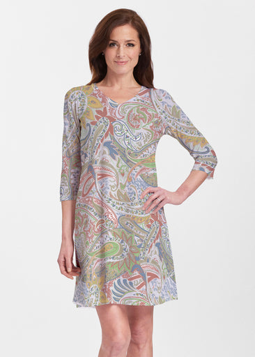 Provincial Paisley (7678) ~ Classic V-neck Swing Dress
