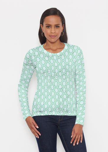 Coastal Lace Green (7686) ~ Signature Long Sleeve Crew Shirt