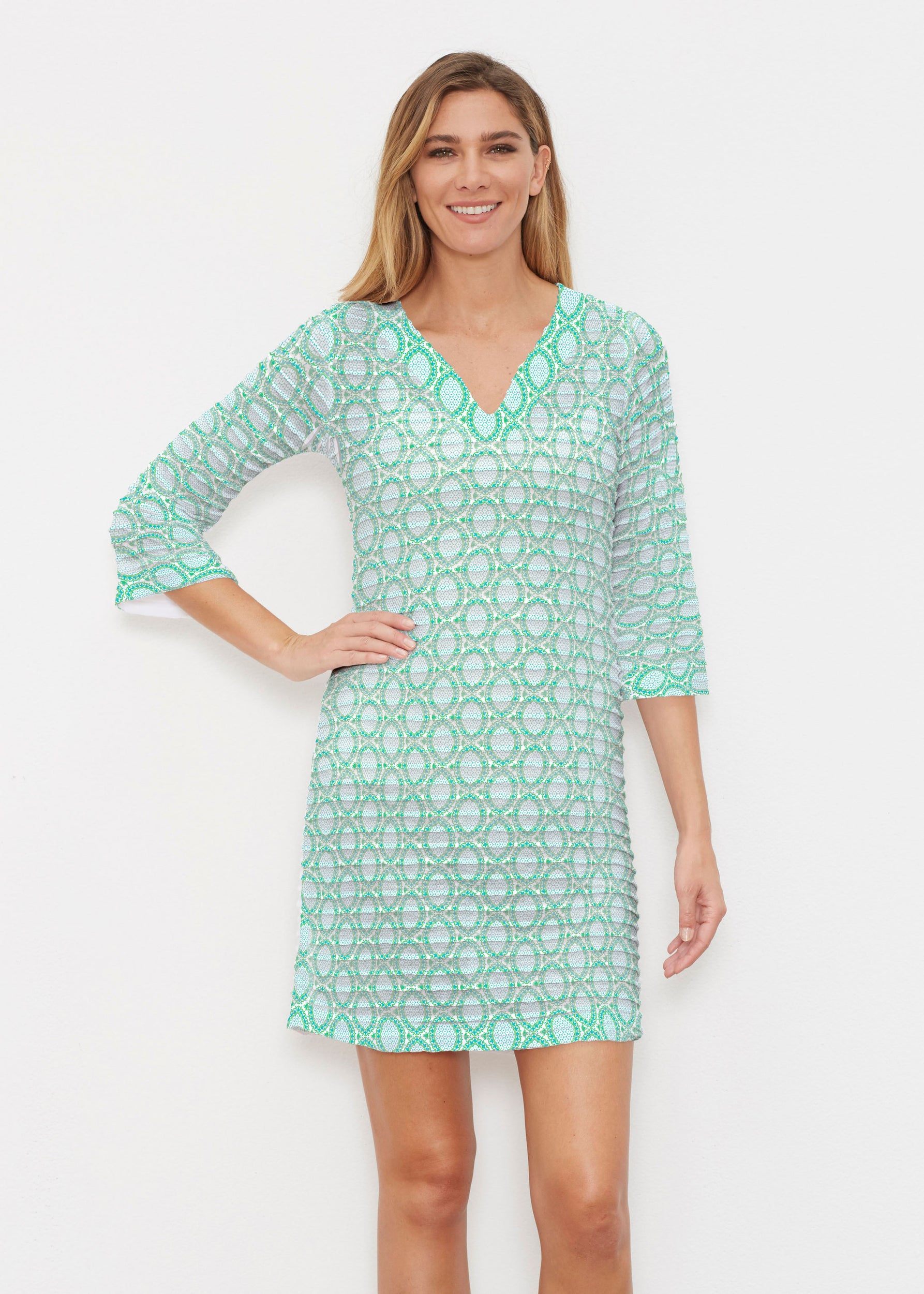 1231f38c78 Coastal Lace Green (7686) ~ Banded 3/4 Sleeve Cover-up Dress – Whimsy Rose