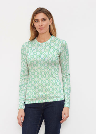 Coastal Lace Green (7686) ~ Butterknit Long Sleeve Crew Top