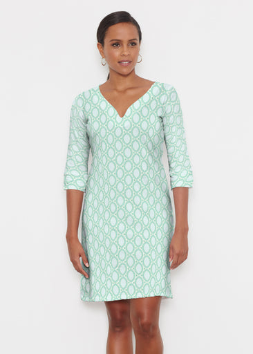 Coastal Lace Green (7686) ~ Classic 3/4 Sleeve Sweet Heart V-Neck Dress