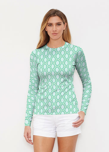 Coastal Lace Green (7686) ~ Long Sleeve Rash Guard