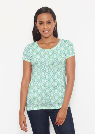 Coastal Lace Green (7686) ~ Short Sleeve Scoop Shirt
