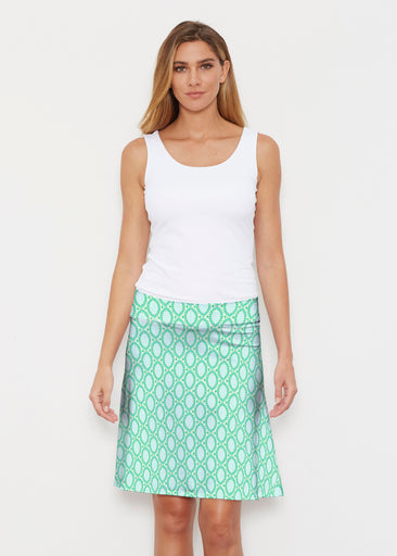 Coastal Lace Green (7686) ~ Silky Brenda Skirt 21 inch