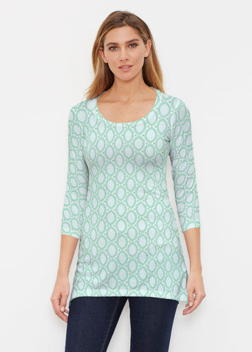 Coastal Lace Green (7686) ~ Buttersoft 3/4 Sleeve Tunic