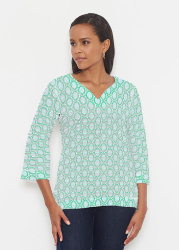 Coastal Lace Green (7686) ~ Banded 3/4 Bell-Sleeve V-Neck Tunic