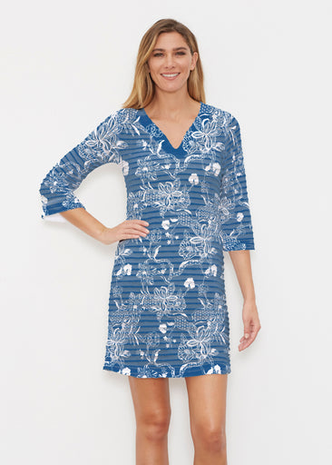Lace Floral Navy (7687) ~ Banded 3/4 Sleeve Cover-up Dress