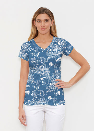 Lace Floral Navy (7687) ~ Signature Cap Sleeve V-Neck Shirt