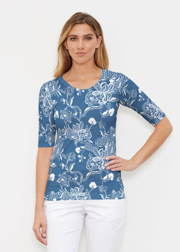 Lace Floral Navy (7687) ~ Signature Elbow Sleeve Crew Shirt