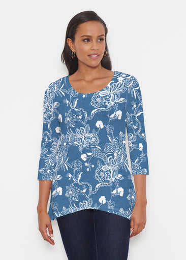 Lace Floral Navy (7687) ~ Katherine Hi-Lo Thermal Tunic