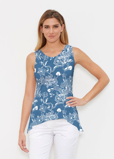 Lace Floral Navy (7687) ~ High-low Tank