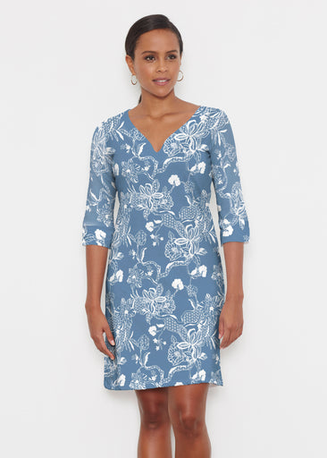 Lace Floral Navy (7687) ~ Classic 3/4 Sleeve Sweet Heart V-Neck Dress