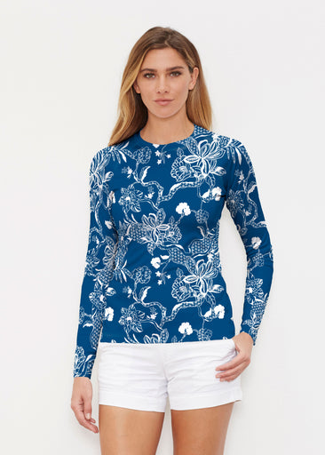Lace Floral Navy (7687) ~ Long Sleeve Rash Guard