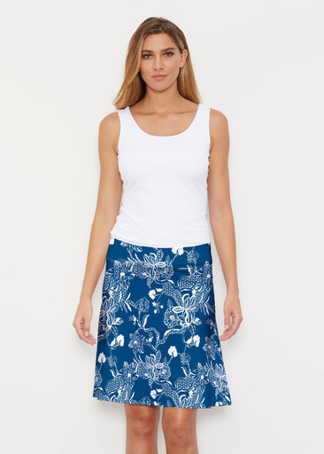 Lace Floral Navy (7687) ~ Silky Brenda Skirt 21 inch