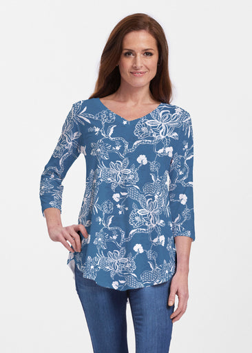 Lace Floral Navy (7687) ~ Signature V-neck Flowy Tunic