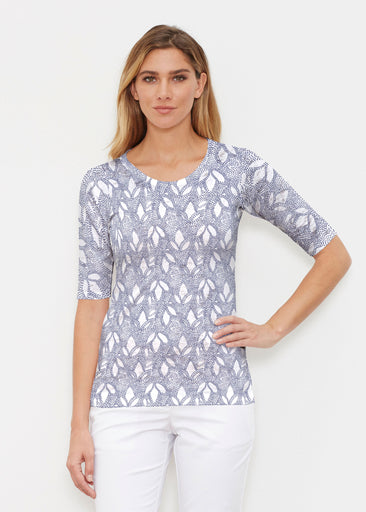 Dottie Combo Navy (7688) ~ Signature Elbow Sleeve Crew Shirt
