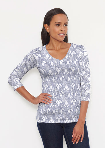Dottie Combo Navy (7688) ~ Signature 3/4 V-Neck Shirt