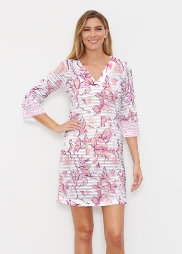 Edgy Rose Pink (7689) ~ Banded 3/4 Sleeve Cover-up Dress
