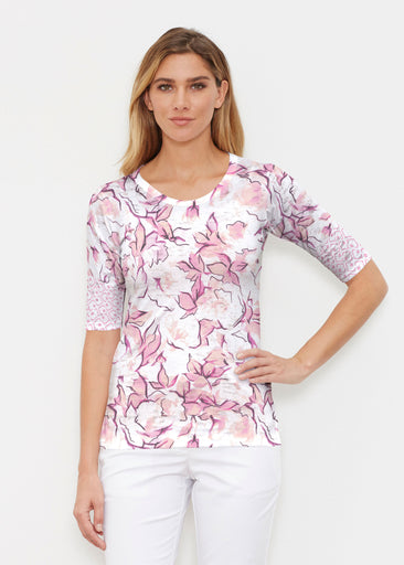 Edgy Rose Pink (7689) ~ Elbow Sleeve Crew Shirt