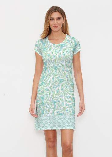 Coastal Paisley Lace Green (7690) ~ Classic Crew Dress