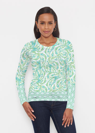 Coastal Paisley Lace Green (7690) ~ Signature Long Sleeve Crew Shirt