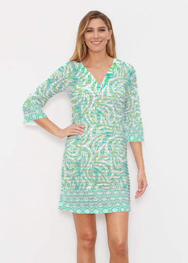 Coastal Paisley Lace Green (7690) ~ Banded 3/4 Sleeve Cover-up Dress