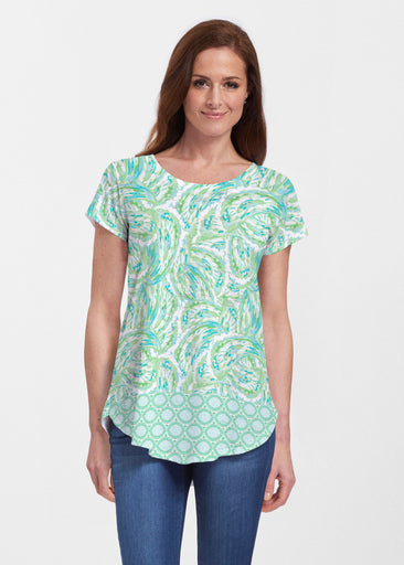 Coastal Paisley Lace Green (7690) ~ Signature Short Sleeve Scoop Neck Flowy Tunic