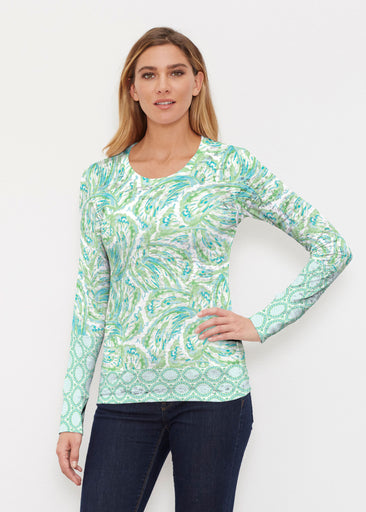 Coastal Paisley Lace Green (7690) ~ Thermal Long Sleeve Crew Shirt