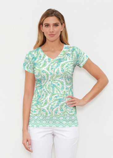 Coastal Paisley Lace Green (7690) ~ Signature Cap Sleeve V-Neck Shirt