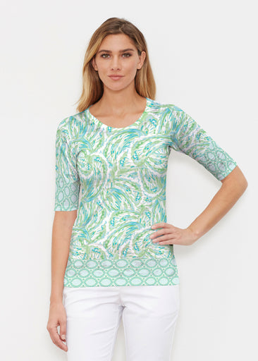 Coastal Paisley Lace Green (7690) ~ Elbow Sleeve Crew Shirt