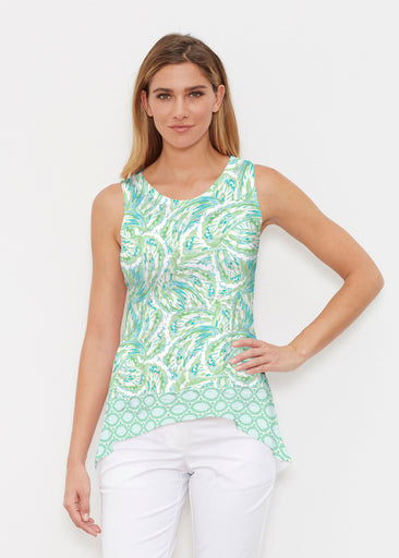 Coastal Paisley Lace Green (7690) ~ Signature High-low Tank