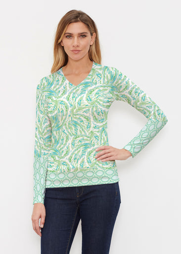 Coastal Paisley Lace Green (7690) ~ Butterknit Long Sleeve V-Neck Top