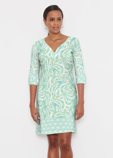 Coastal Paisley Lace Green (7690) ~ Classic 3/4 Sleeve Sweet Heart V-Neck Dress